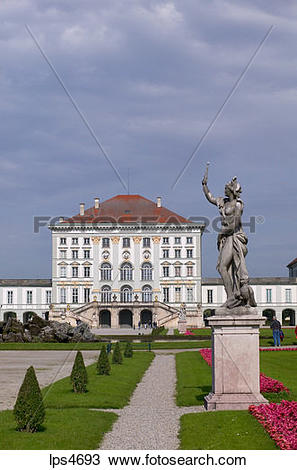 Stock Photo of STATUE IN FRONT OF NYMPHENBURG CASTLE MUNICH.