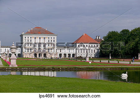 Stock Photography of POND IN FRONT OF NYMPHENBURG CASTLE MUNICH.