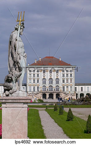 Stock Photo of NEPTUN STATUE IN FRONT OF NYMPHENBURG CASTLE MUNICH.