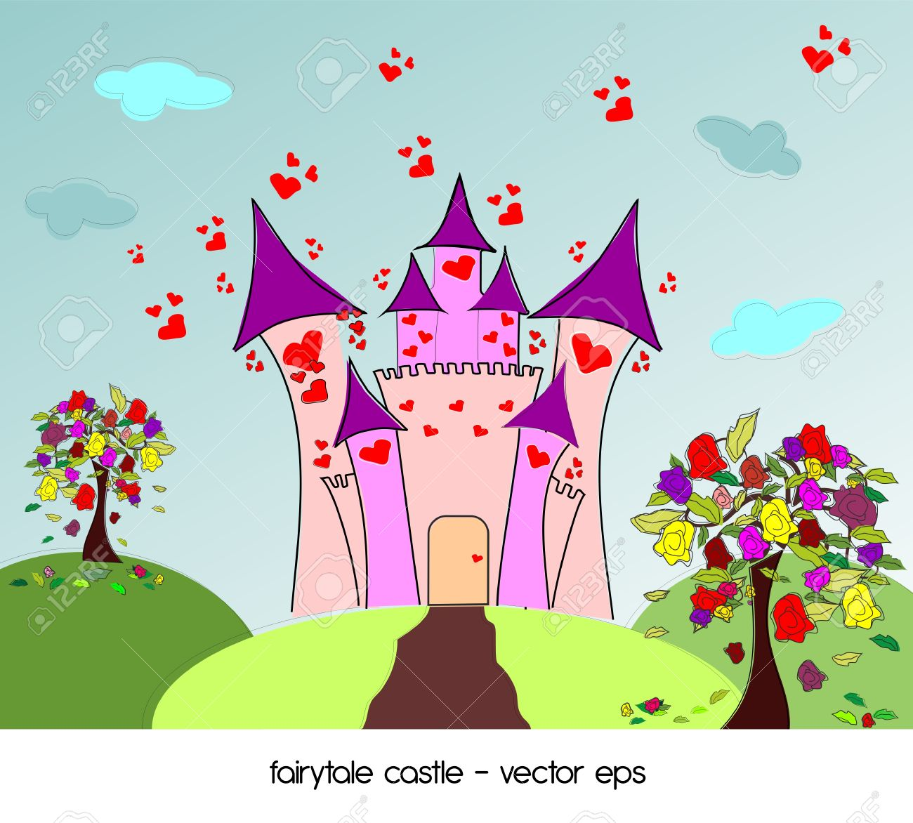 Castle Of Love With Roses Trees Royalty Free Cliparts, Vectors.