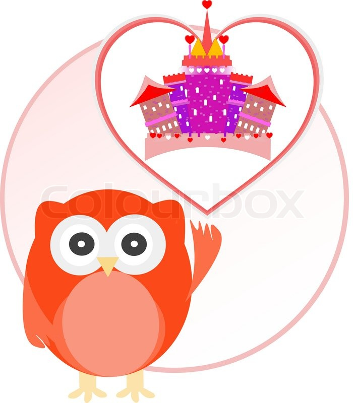 Background with owl and cute castle in love heart.