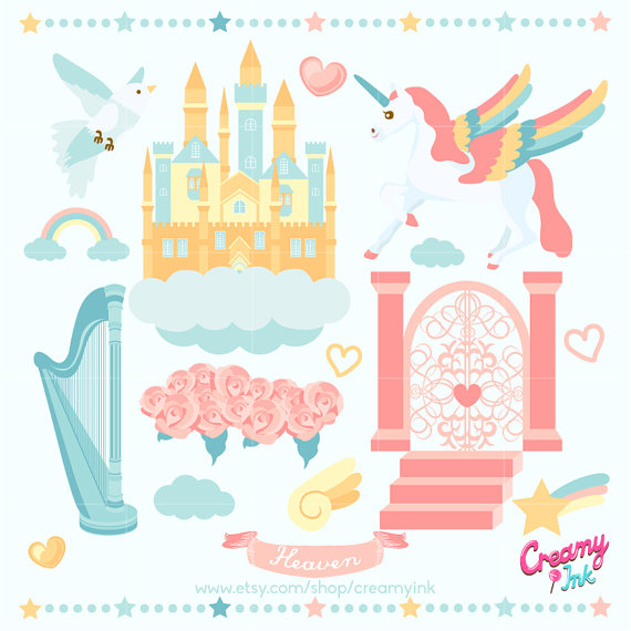 Heaven Digital Vector Clip art / Unicorn Clipart Design.