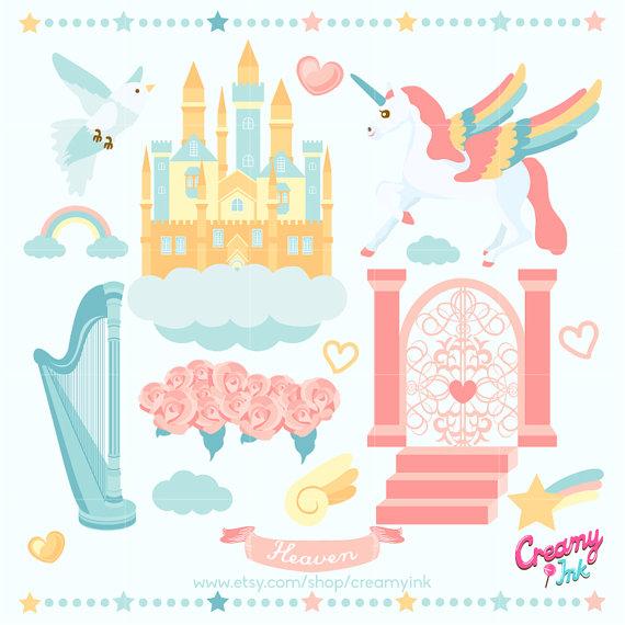 Heaven Digital Vector Clip art / Unicorn Clipart Design.