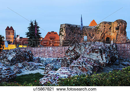 Stock Photography of Ruins of the Teutonic Knights castle in Torun.