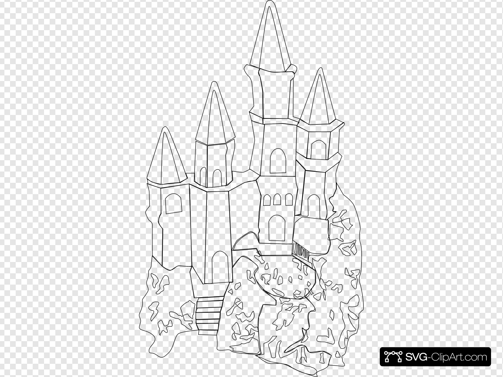 Castle Outline Clip art, Icon and SVG.