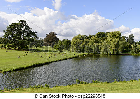 Stock Photo of trees and lake in Leeds castle park, Maidstone.