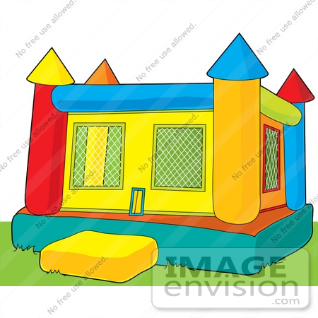 Clip Art Graphic of a Bounce Castle On Grass In A Park.