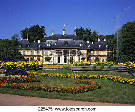 Stock Image of Formal garden in front of palace, Pillnitz Palace.