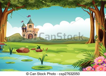 Clipart Vector of Castle and pond.
