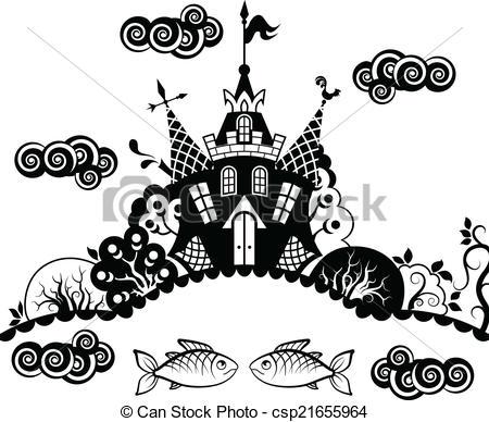 Clip Art Vector of castle.