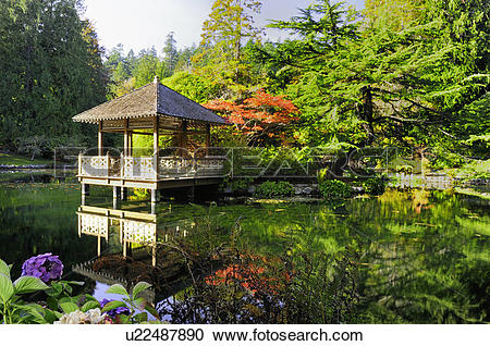 Stock Photography of A gazebo on a pond in a Japanese Garden at.