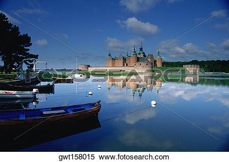 Stock Image of Reflection of a castle in a pond, Kalmar Castle.