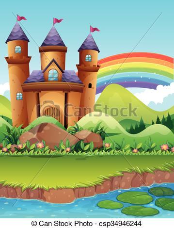 EPS Vector of Castle towers by the pond illustration csp34946244.