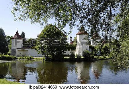 Stock Photograph of Pond, Blutenburg Castle, Pasing, Munich.