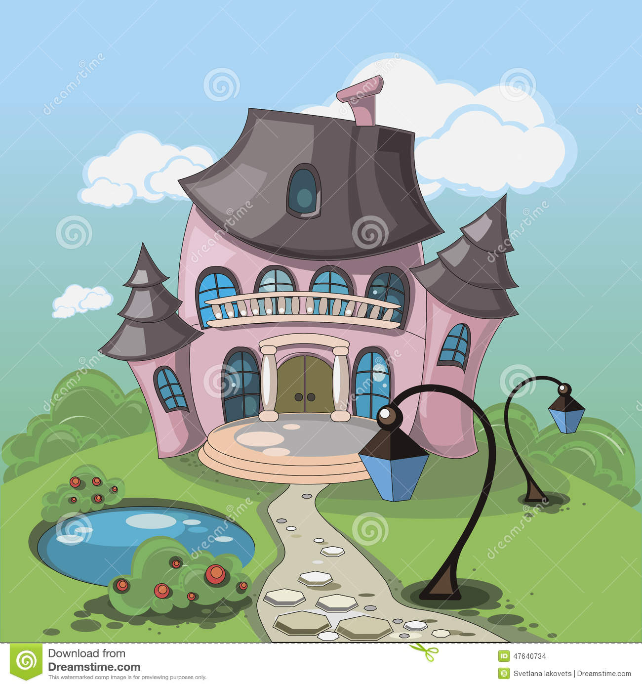 Pink Castle With A Pond Stock Vector.