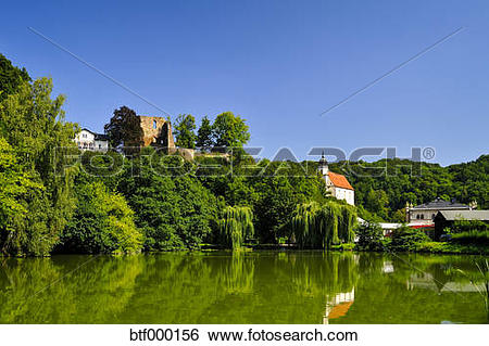 Stock Images of Germany, Saxony, Tharandt, Church and castle ruin.