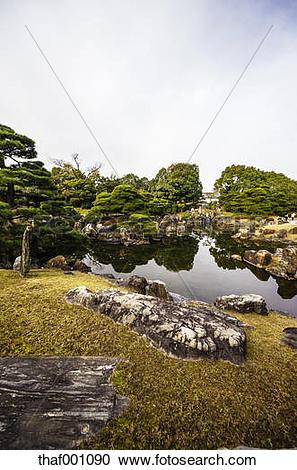 Stock Photography of Japan, Kyoto, Nijo Castle, Pond in Castle.
