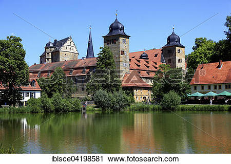 Stock Photography of Schloss Thurnau and castle pond, Upper.