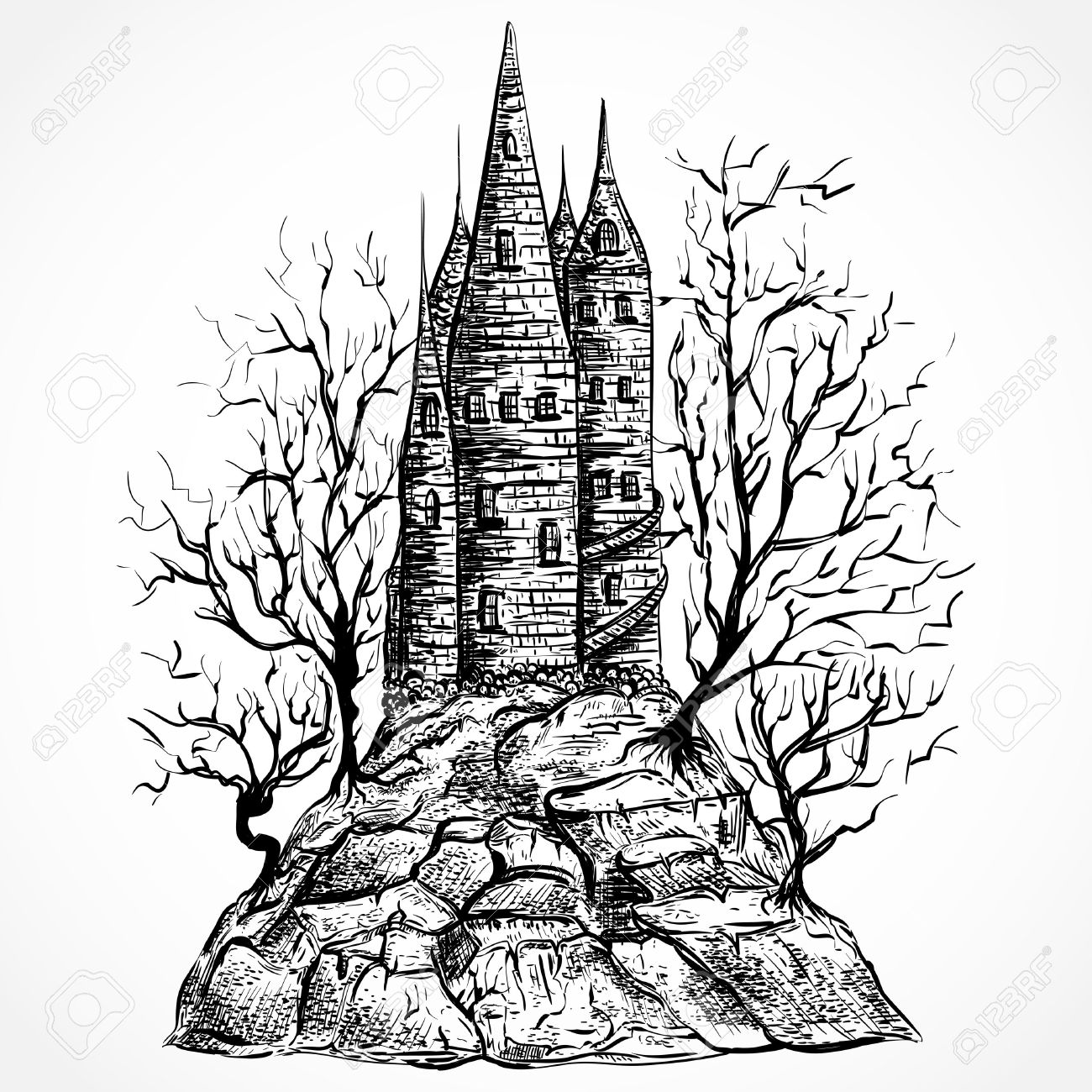 Medieval castle on rock silhouette clipart.