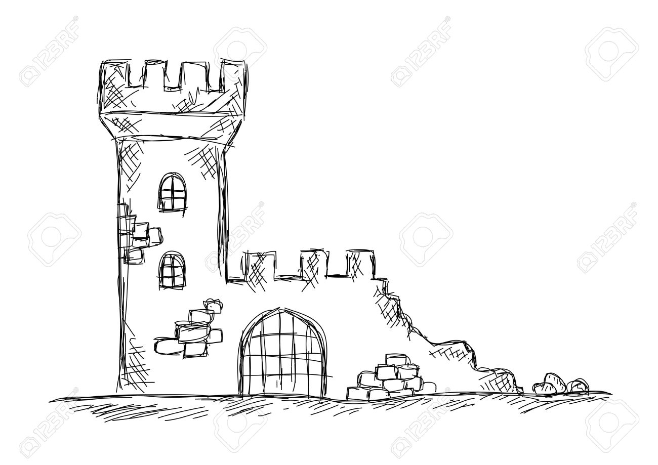 Drawing Of Castle Ruins Royalty Free Cliparts, Vectors, And Stock.