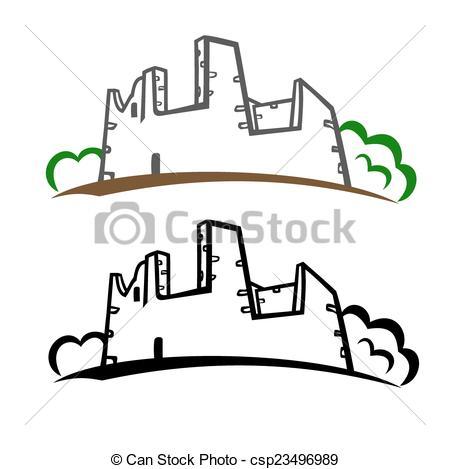 Vector of Castle ruins symbol.