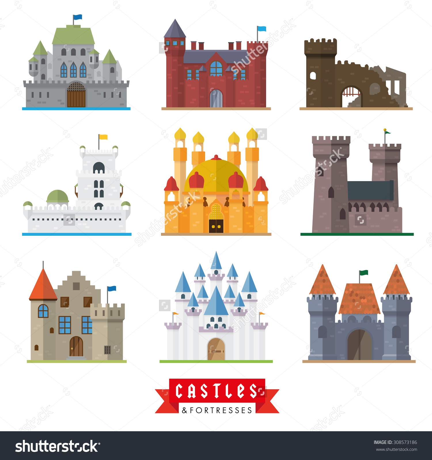 Castles Fortresses Flat Design Vector Icons Stock Vector 308573186.