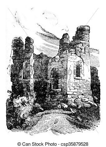 Clip Art of Wigmore Castle Ruins, vintage engraving..