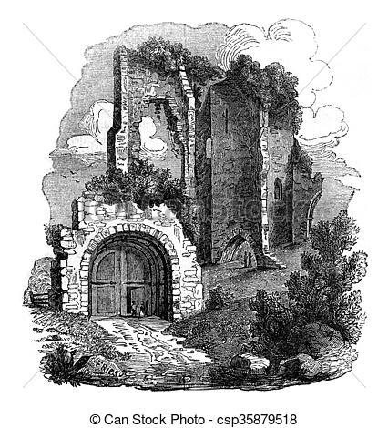 Clipart of Pevensey Castle Ruins, Kent, vintage engraving.