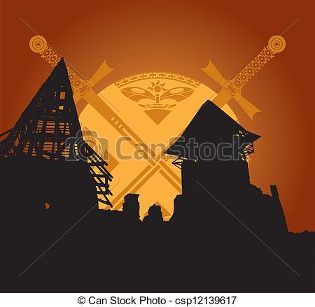 Vector Clip Art of castle ruins and fantasy swords csp12139617.