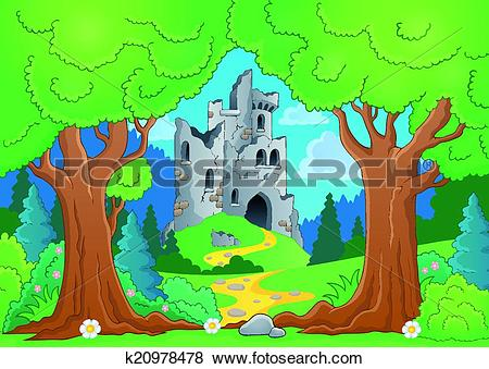 Clip Art of Tree theme with castle ruins k20978478.