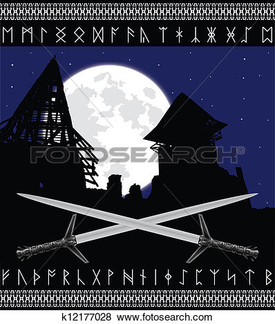 Clip Art of castle ruins and moon k12177028.