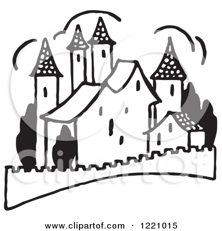 Clipart Of Retro Vintage People By Castle Ruins In Black And White.