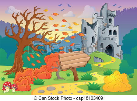 Vector Clipart of Autumn theme with castle ruins 4.