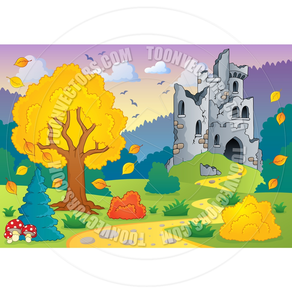 Cartoon Autumn Theme with Castle Ruins by clairev.