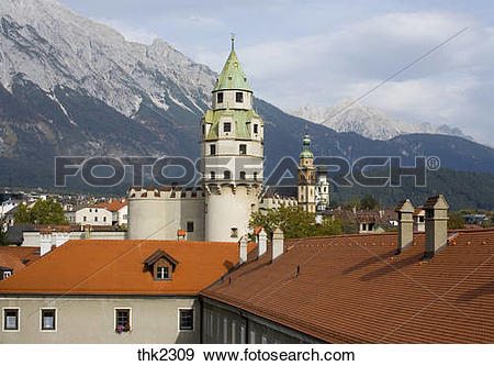 Stock Photograph of Burg Hasegg Castle Hall in Tirol town Austria.
