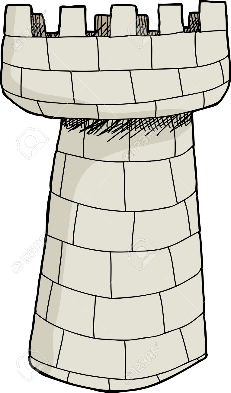 Isolated Hand Drawn Stone Castle Tower Over White Royalty Free.