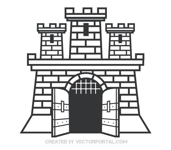 Castle Vector Clip Art Image.