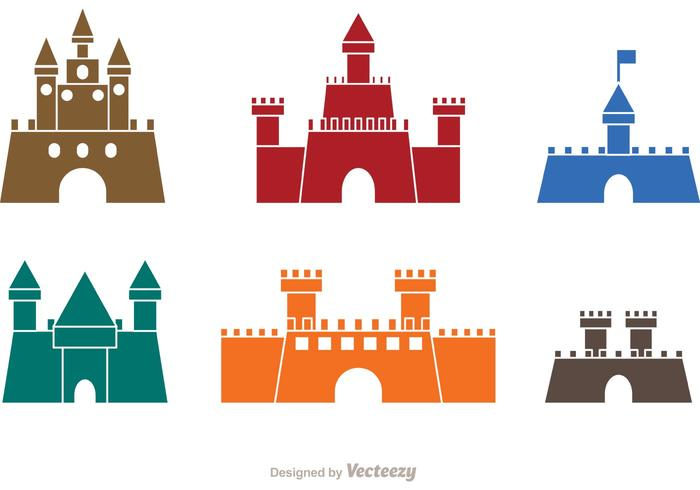 Colorful Castle Icons Vector.