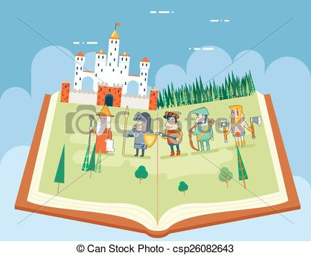 EPS Vector of Fairy Tales History Books Reading Concept Symbol.
