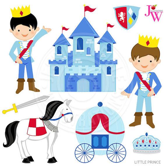 Little Prince Cute Digital Clipart, Prince Clip Art, Castle.