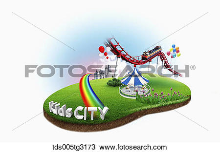 Drawing of Kids City with roller coaster and a castle tds005tg3173.
