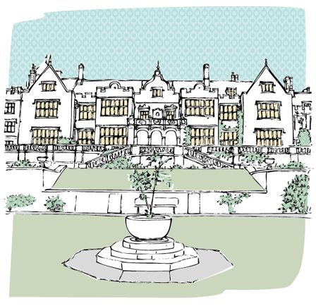 Letterfest wedding venue illustration of Bovey Castle in Devon.
