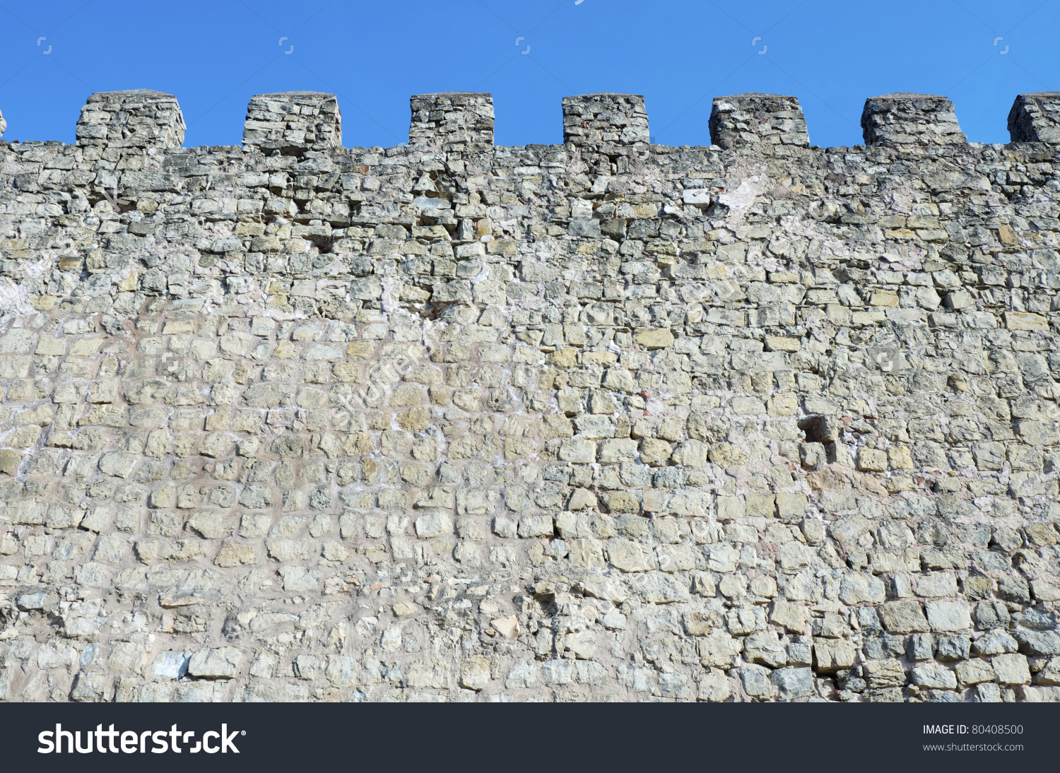 Fortified Castle Wall Siguenza Guadalajara Castilla Stock Photo.