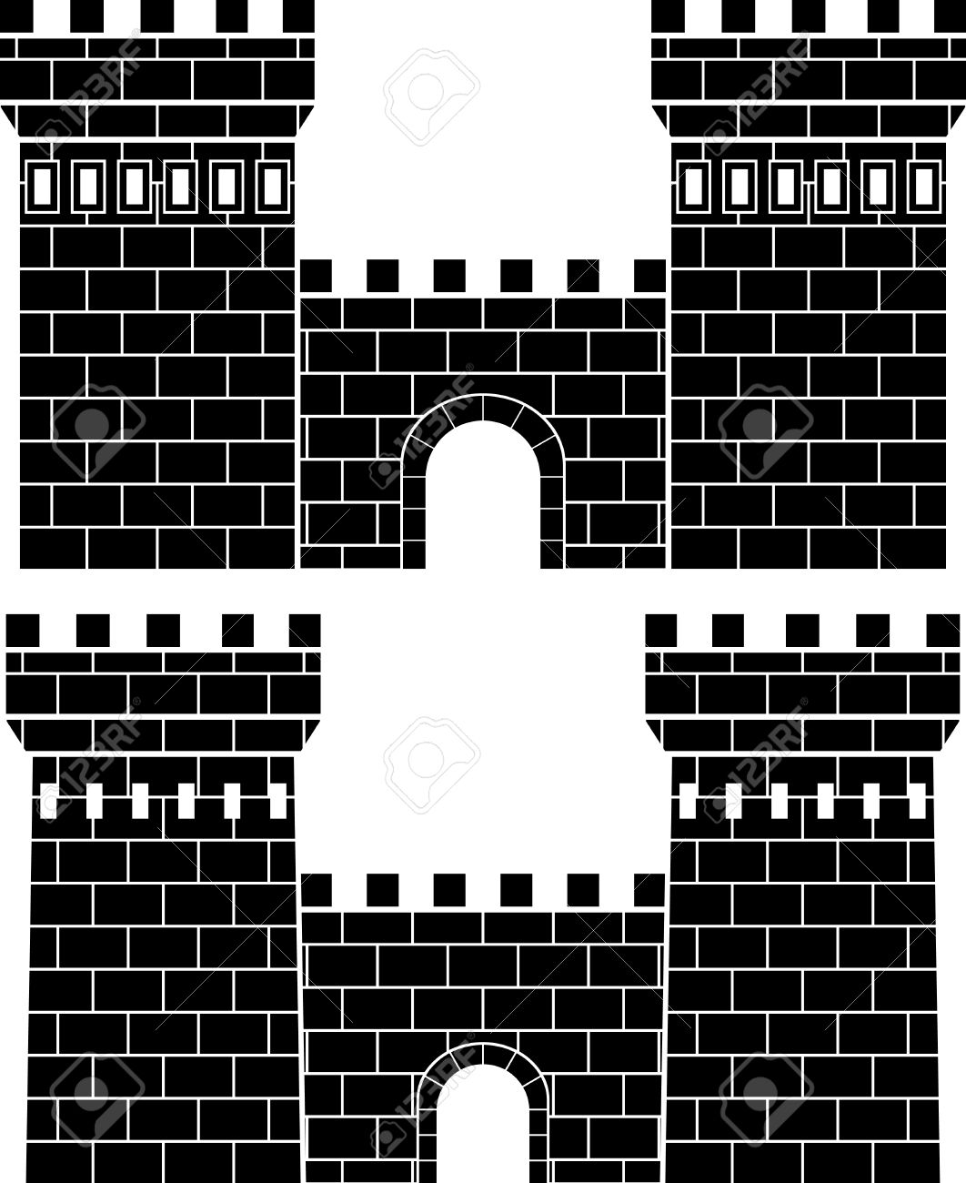 Castle wall clipart black and white.