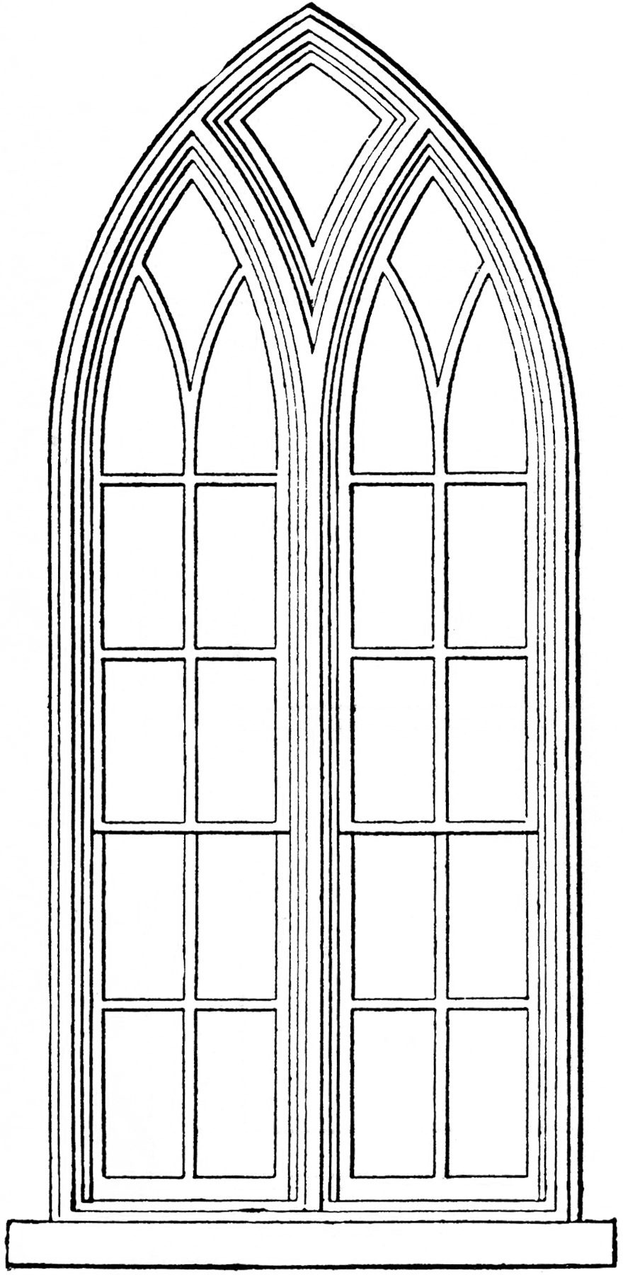 Medieval Castle Windows Clipart.