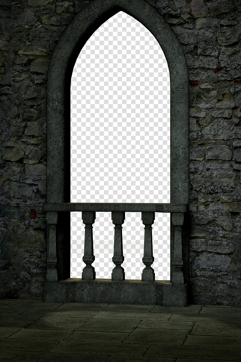 UNRESTRICTED Gothic Castle Balcony Render, gray concrete.