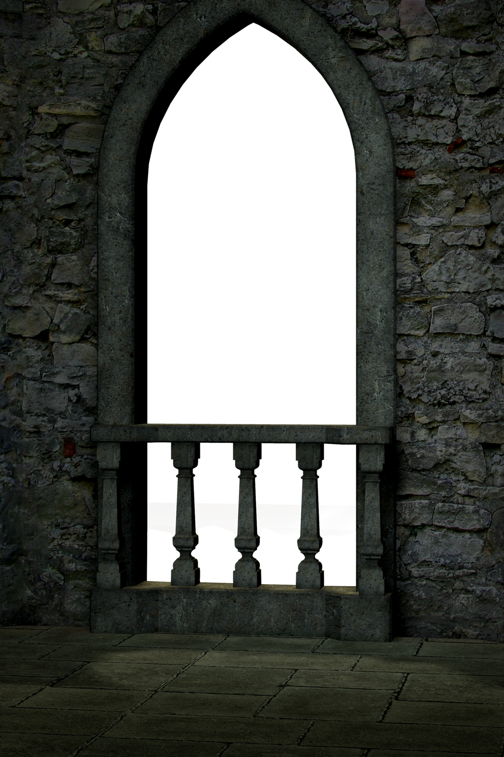A window with a view of the castle.