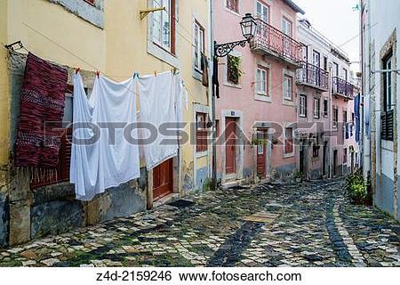 Stock Images of Alfama district, San Jorge Castle area near Street.