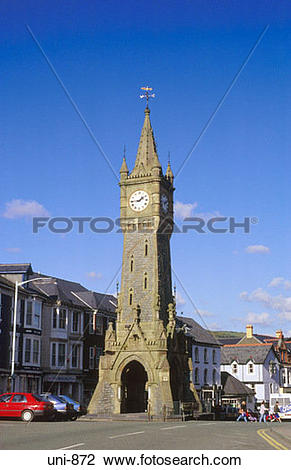 Stock Photo of Castlereagh Memorial Clocktower Machynlleth Wales.