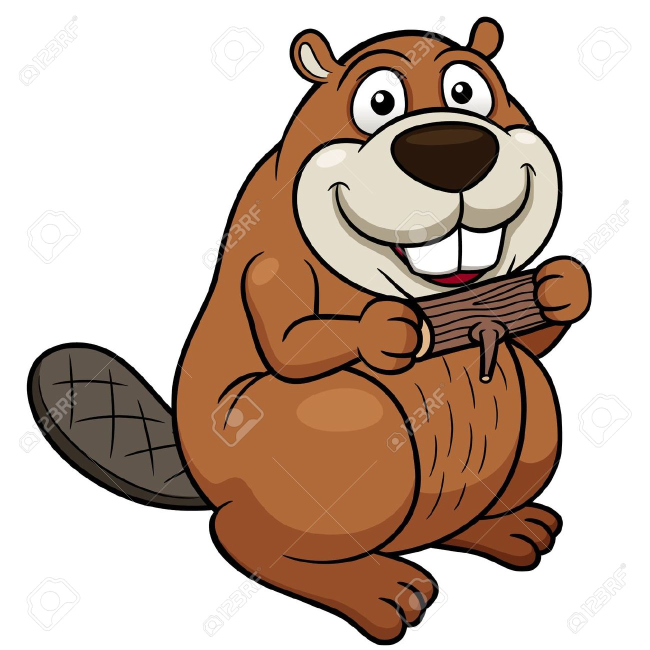 Vector Illustration Of Cartoon Beaver With A Wood Royalty Free.